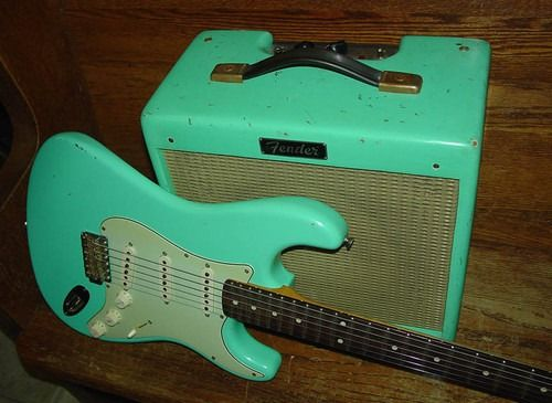 seafoam green electric and amp