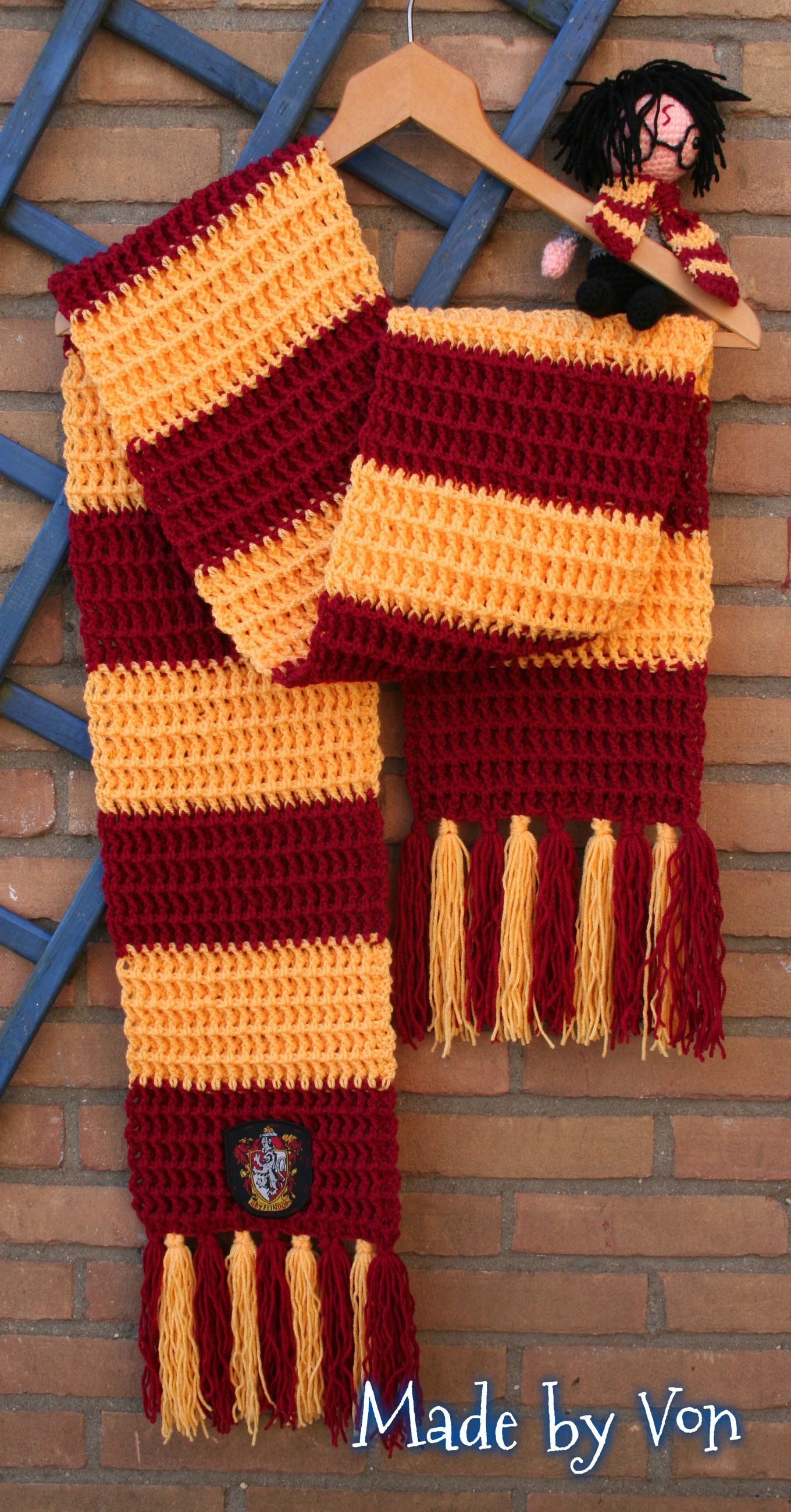Crochet Gryffindor scarf . | Made by Von | Pinterest | Crochet ...