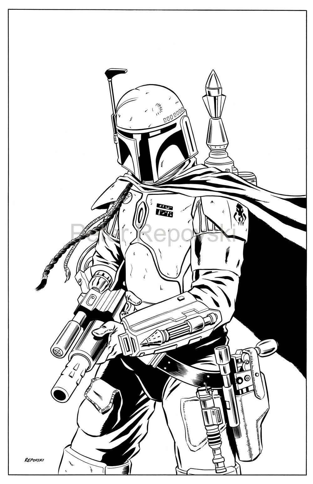 boba fett drawing outline Google Search Star wars cards