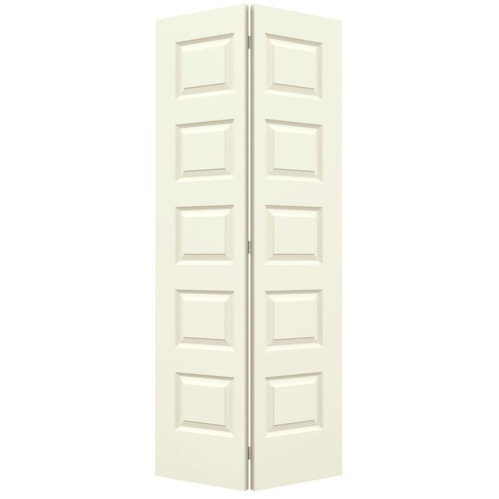 Jeld Wen 36 In X 80 In Rockport Vanilla Painted Smooth Molded Composite Mdf Closet Bi Fold Door Thdjw160400015 Bifold Door Hardware Interior Closet Doors Panel Moulding