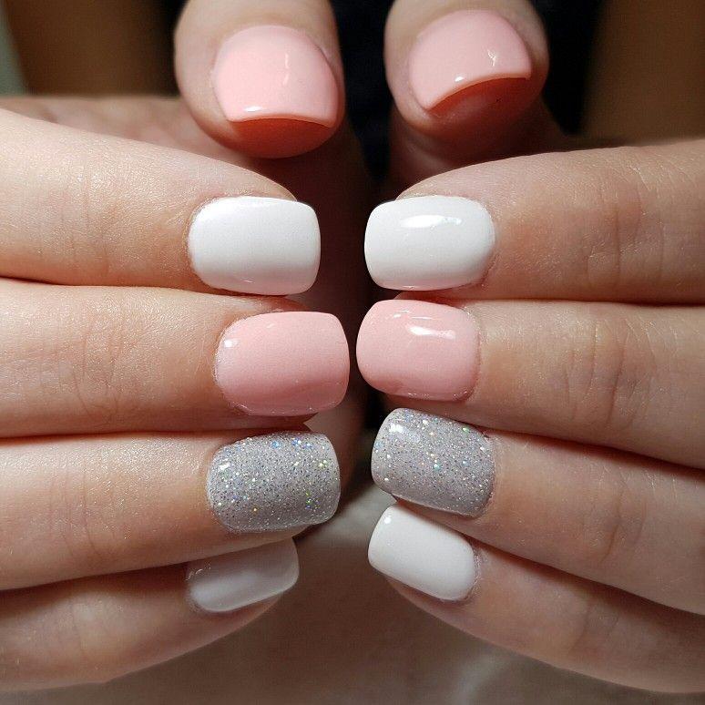 White And Glitter Coffin Dip Powder Acrylic Nails Acrylicnailsforsummer Winter Nails Acrylic Dipped Nails White Acrylic Nails