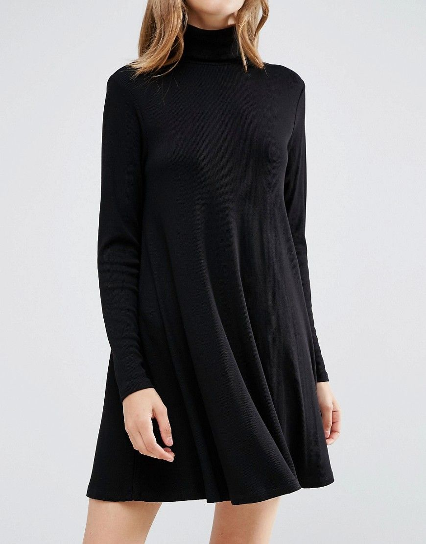 Image of asos swing dress in rib with polo neck u long sleeves