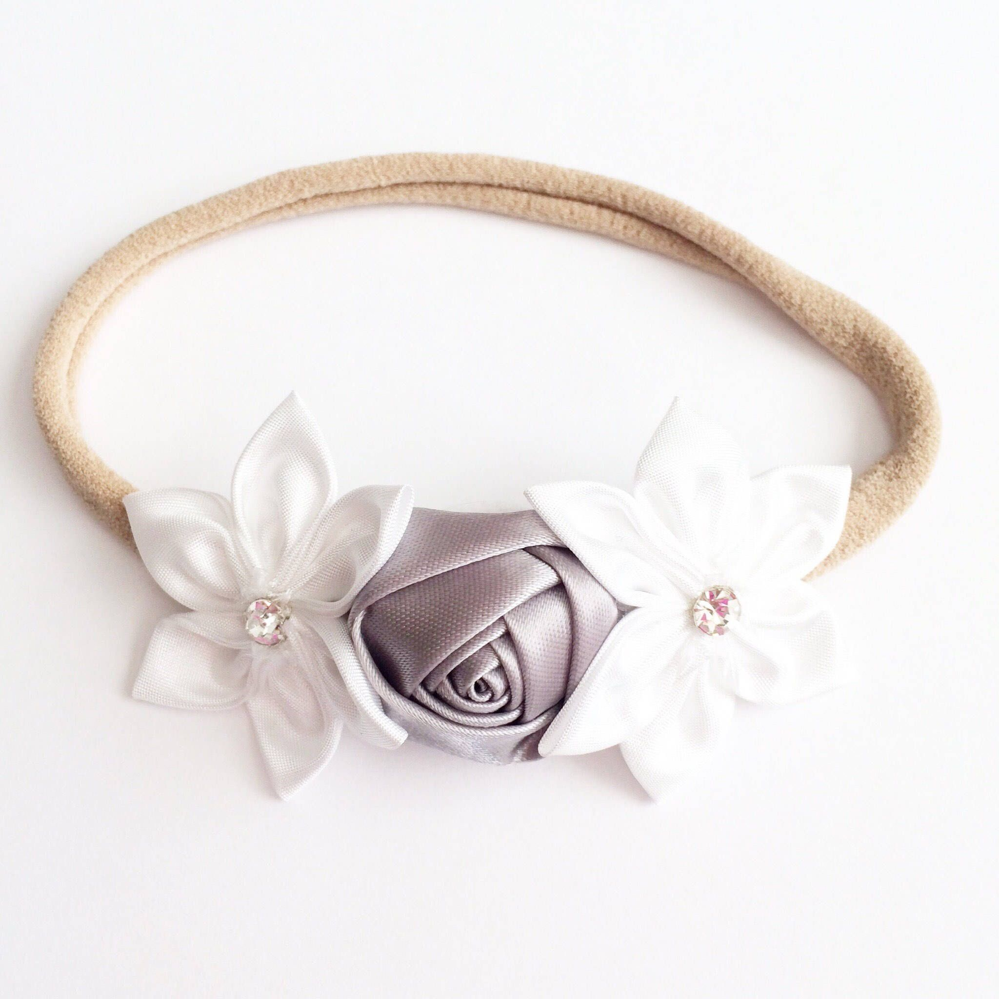 Gray Flower Headband Nylon Headband Baby Headbands White Headband