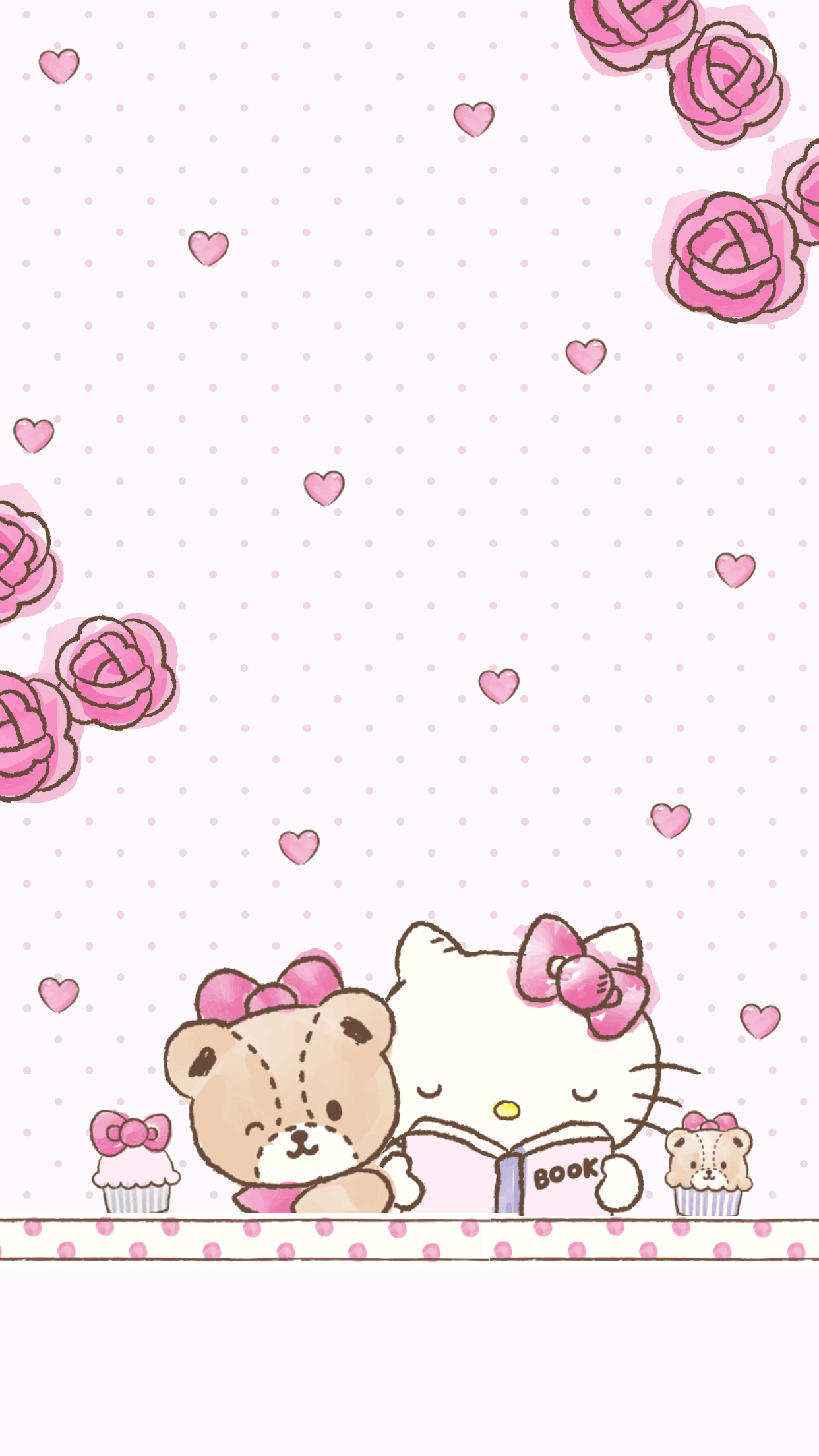 Hello Kitty Phone Wallpaper With Teddy