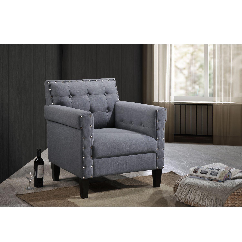 Dandridge Contemporary Grey Fabric Upholstered Button