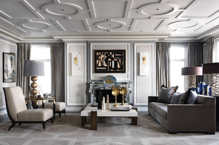 Ceiling details add interest to this contemporary space | Living ...