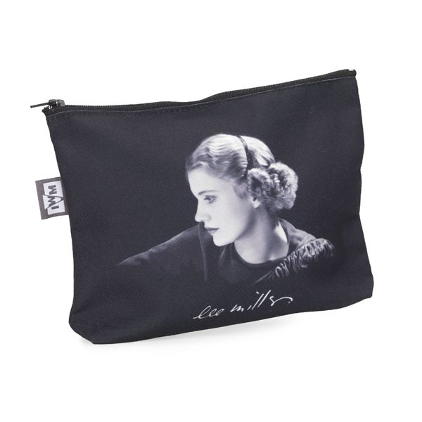 Cotton make-up bag featuring a self-portrait of Lee Miller and Lee Miller's signature. Image is printed on both sides.