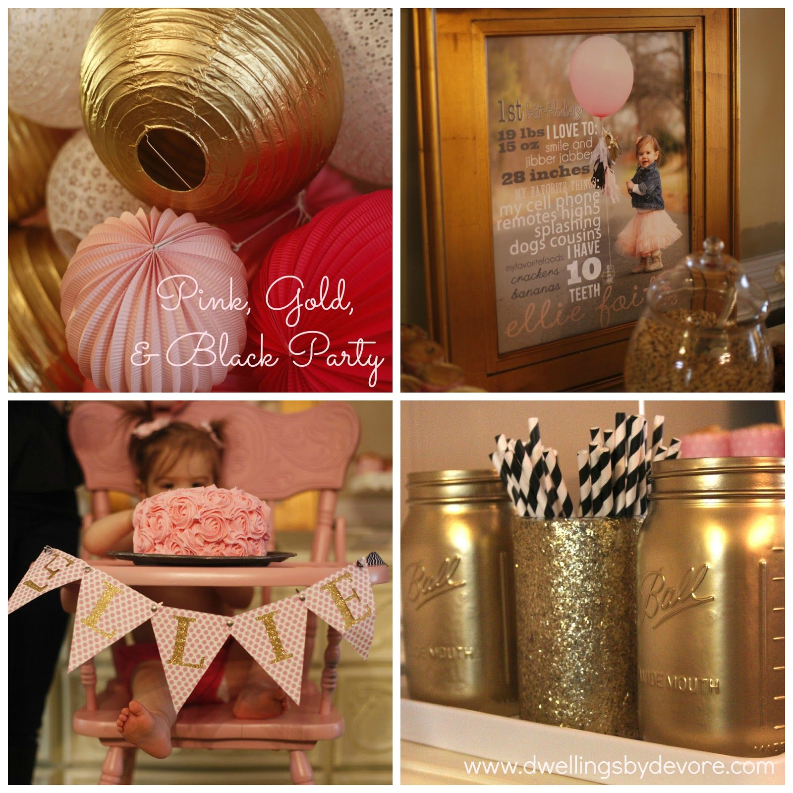 Pink Gold Black And White Party Lots Of Cute Diy Ideas Baby
