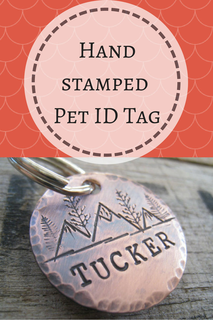 hand stamped pet id tag personalized pet dog tag dog collar tag