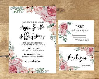 Wedding Invitations, Wedding Set, Wedding Rsvp Cards, Wedding Thank You Cards, Wedding Printable Invitations, Pink Floral Wedding Invites