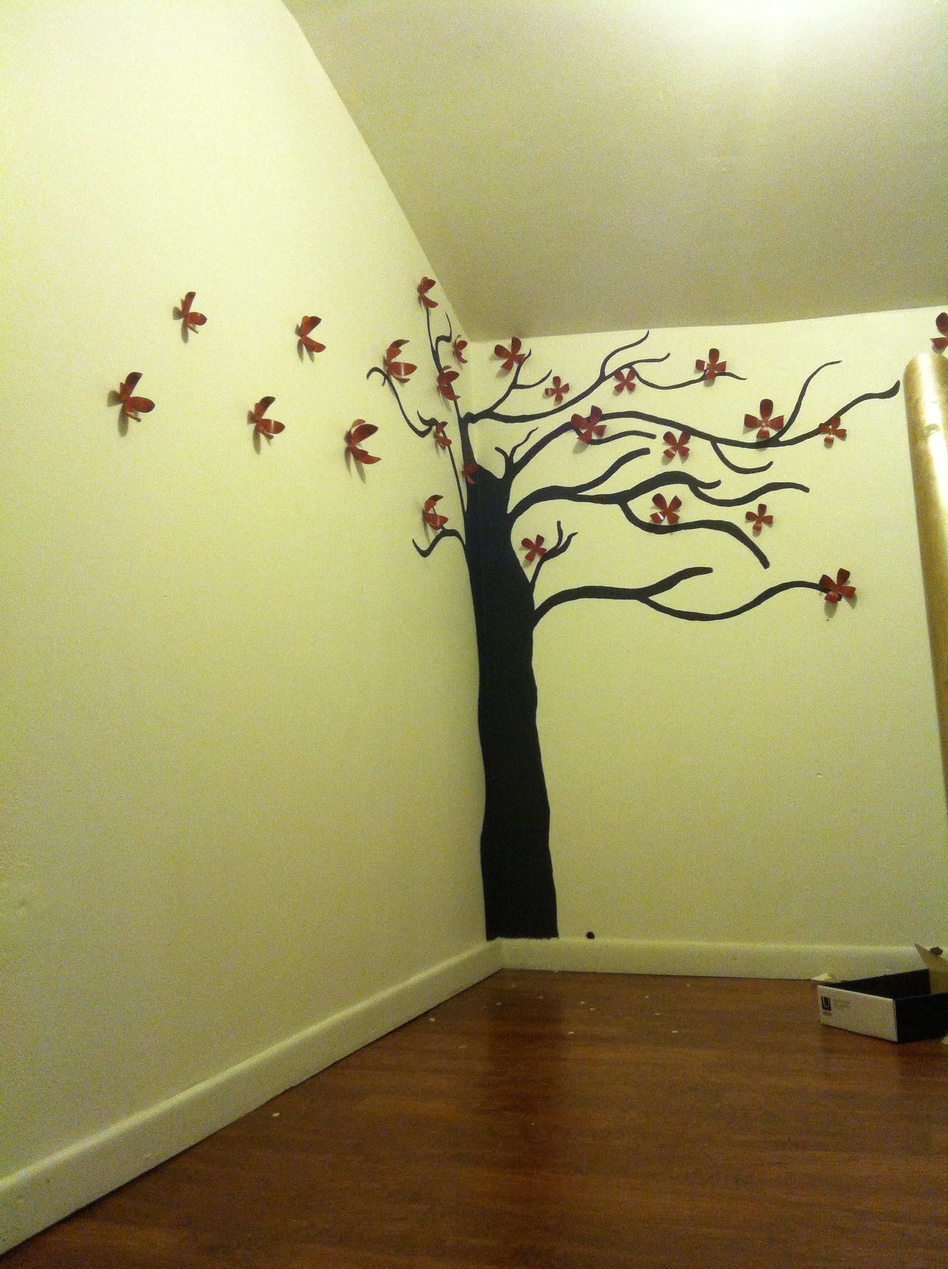Hand painted tree with Umbra 3-D wall decor (I painted them red ...
