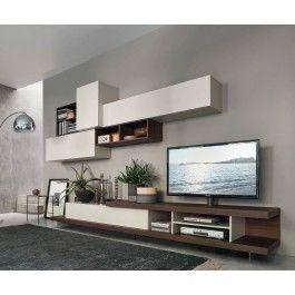 Designer Wohnwand Mit TV Board Und Integrierter TV Halterung Zum Drehen,  Plus Hängeschränke Mit Unterschiedlichen