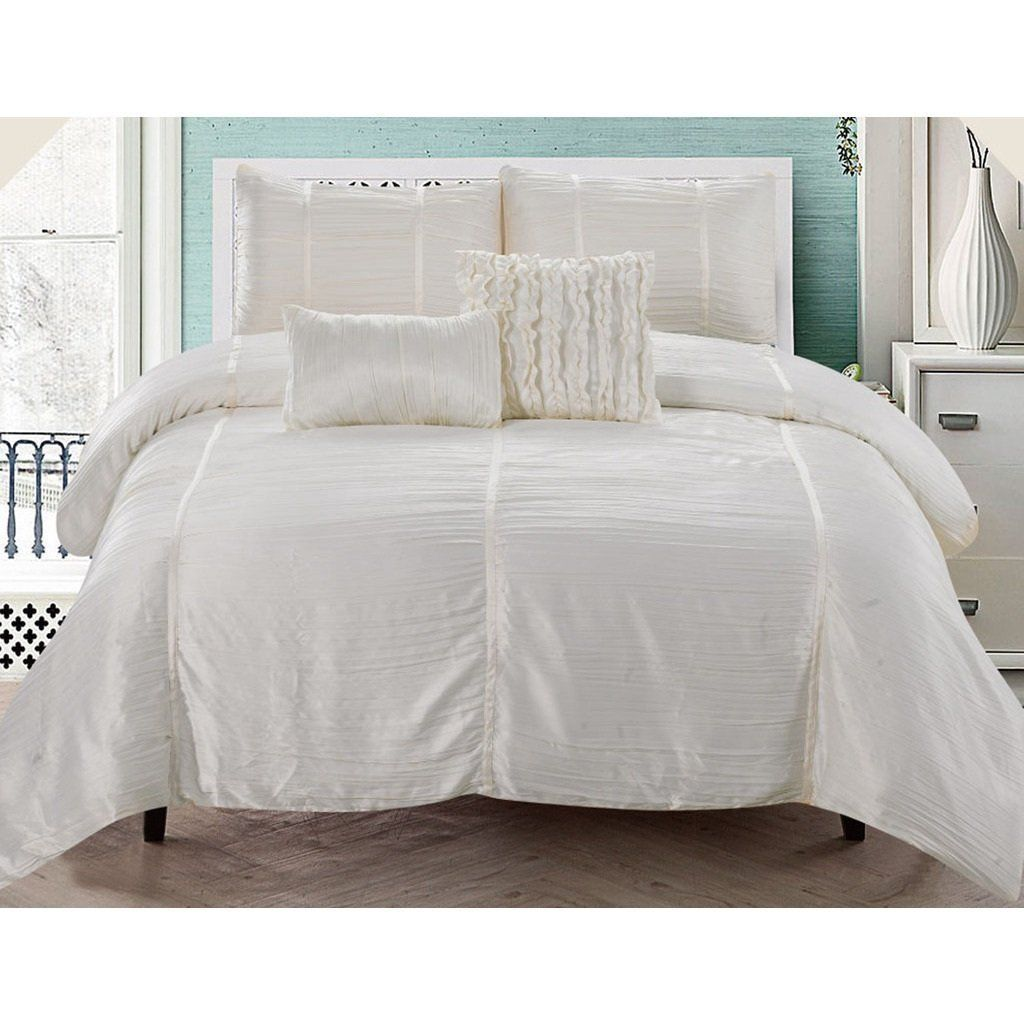 King Luxurious Ivory Comforter Set Stylish High Class Bedding Texture U0026  Solid Pattern Polyester Classic Classy