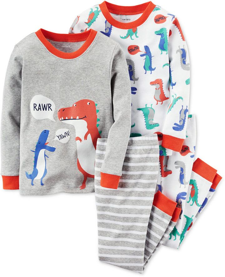 5bcfa5af9 Carter s Toddler Boys  4-Pc. Rawr! Dinosaur Pajamas Set