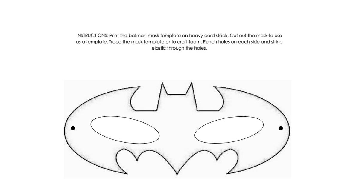 Batman Mask Template Pdf Batman Mask Template Batman Mask Mask Template