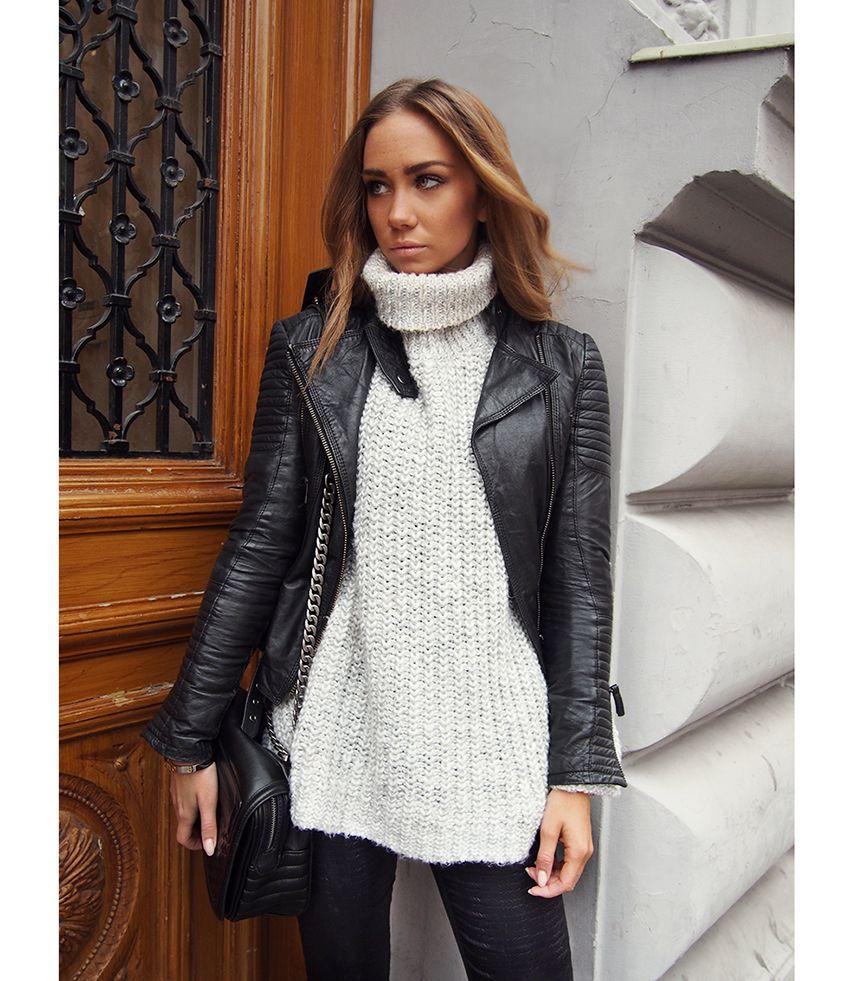 Leather jacket aesthetic - Chunky Knit Ivory Turtleneck Black Skinnies Leather Jacket