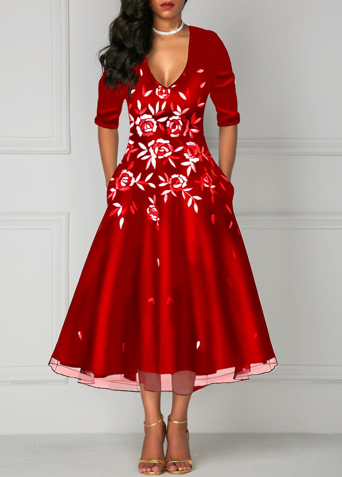 8d718ab97a8 Deep V Neck Printed Red Pocket Dress