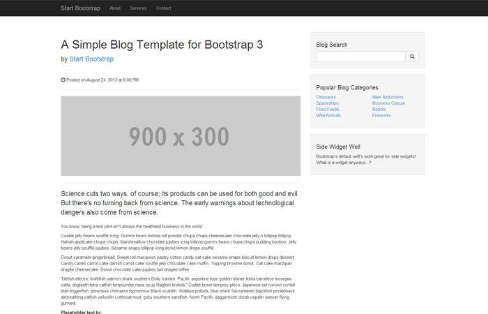 A Blog Post Page Template For Use With Bootstrap 3 It Is 100 Free To Use And Open Source There Are More Templ Blog Starters Blog Post Template Blog Template