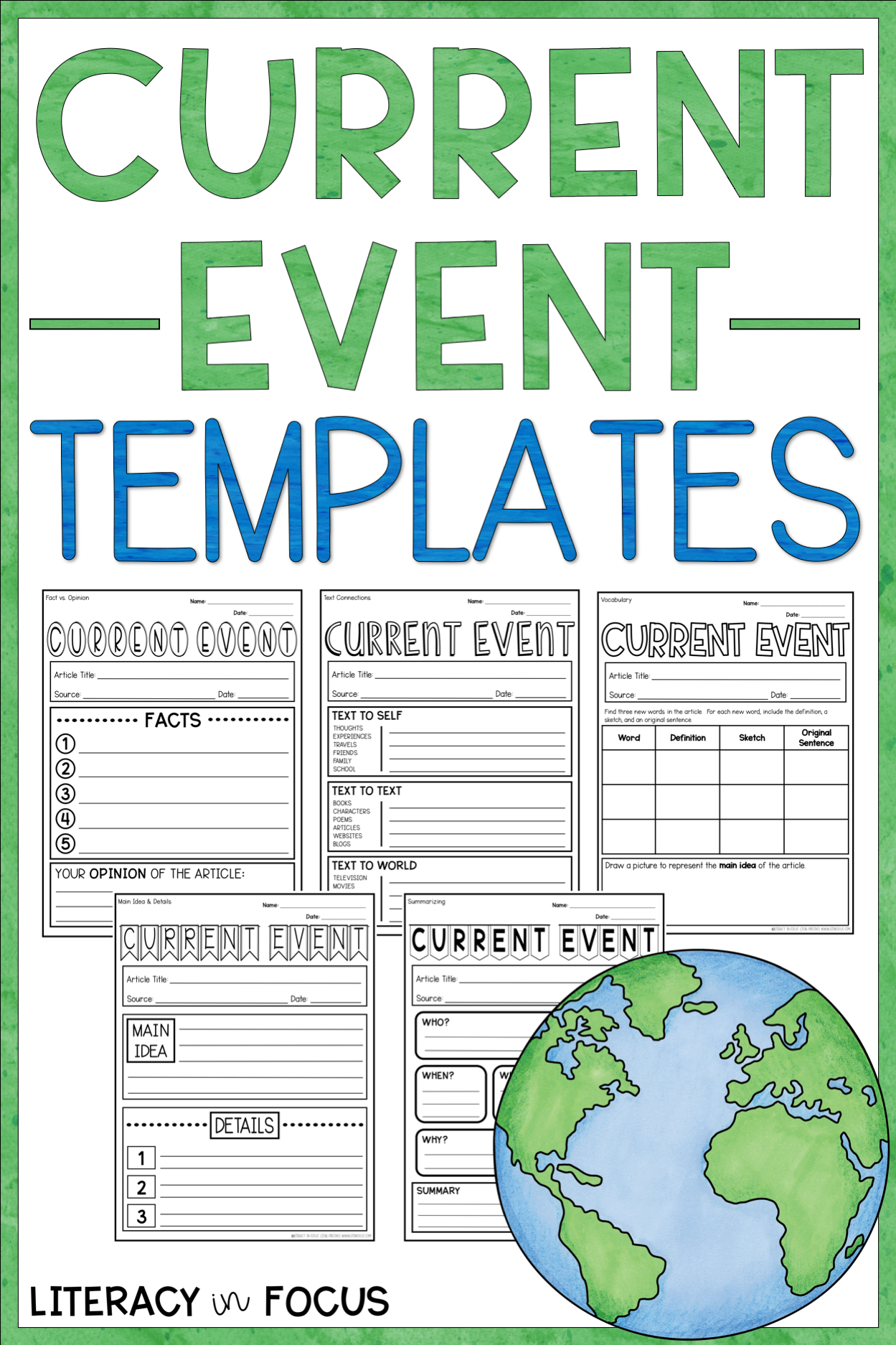 Current Event Report Templates Social Studies For Kids Reading Comprehension Skills Vocabulary In Context