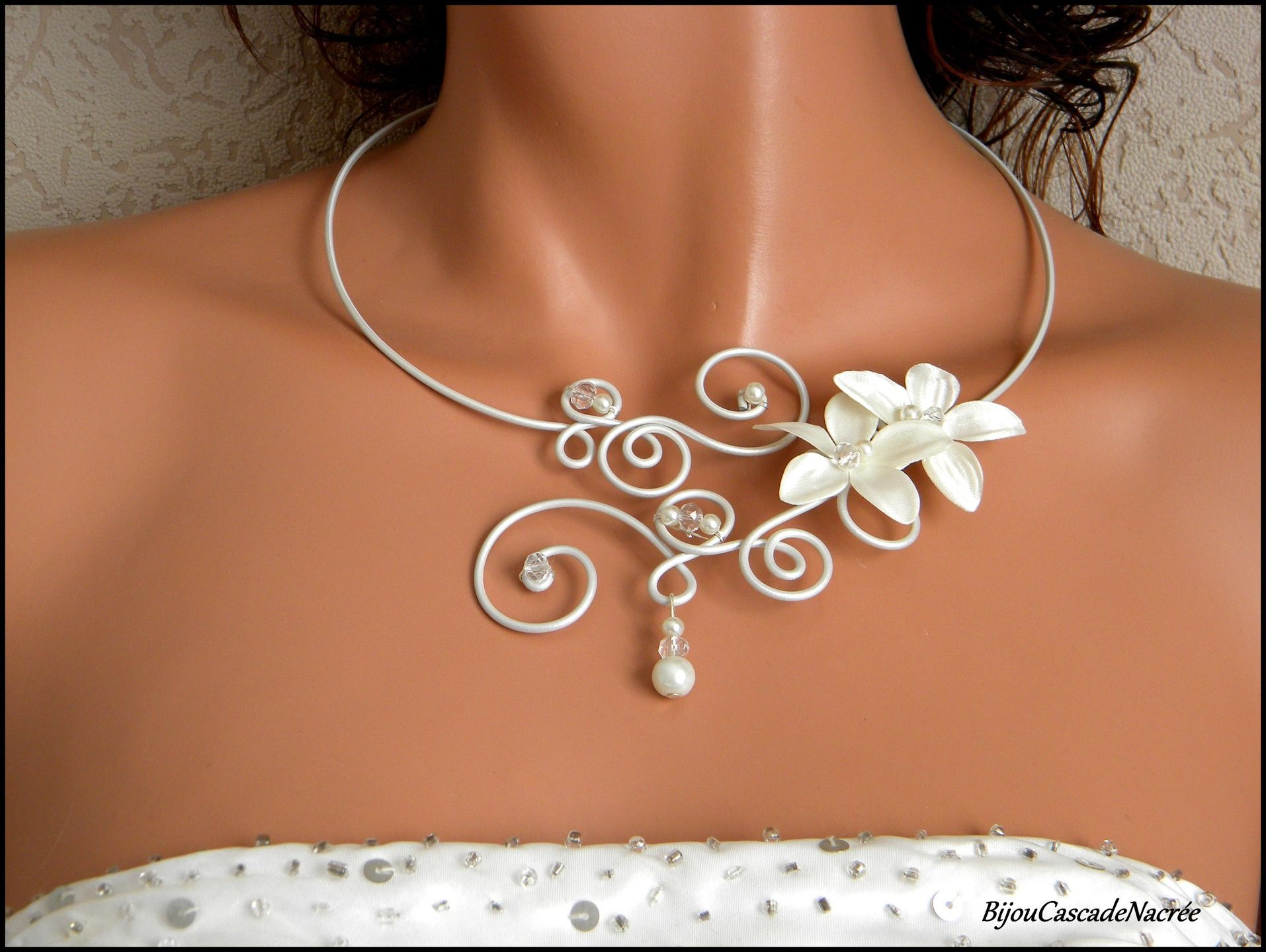 collier mari e justine fleur ivoire perle cristal alu. Black Bedroom Furniture Sets. Home Design Ideas
