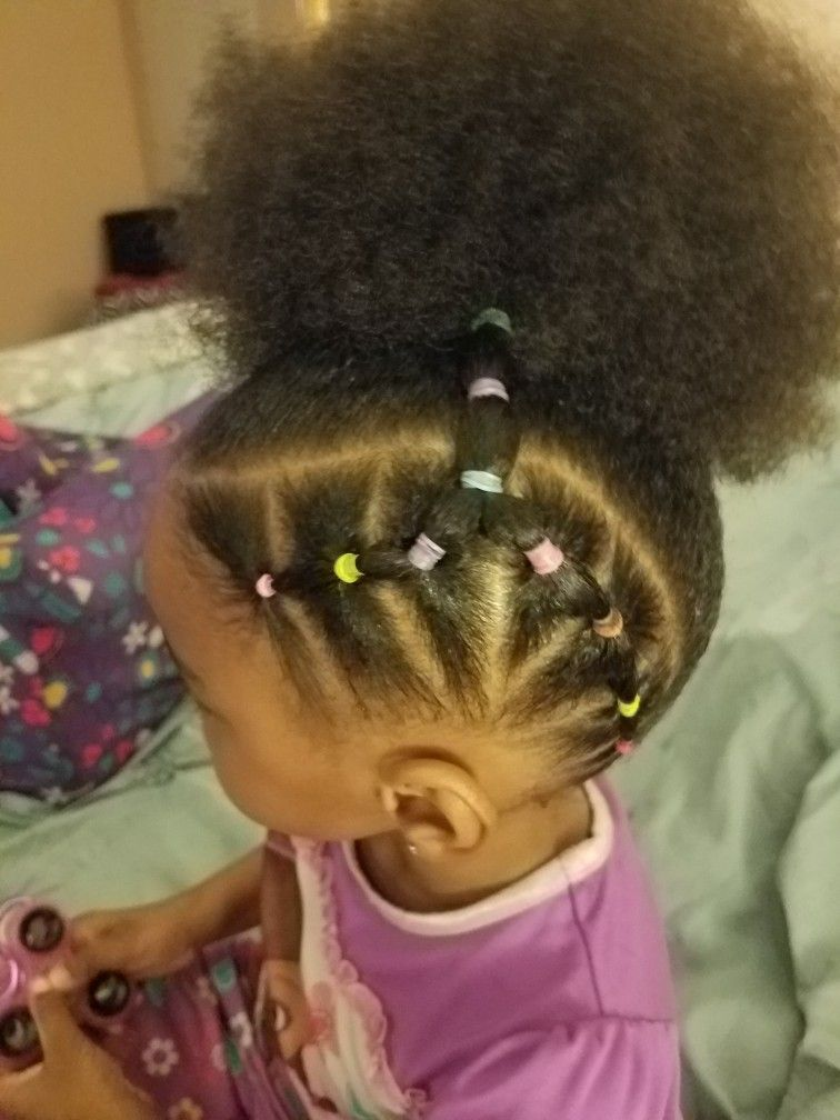 African American Girl Puff Ball Ponytail Girly Hairstyles Toddler Hairstyles Girl Baby Girl Hairstyles