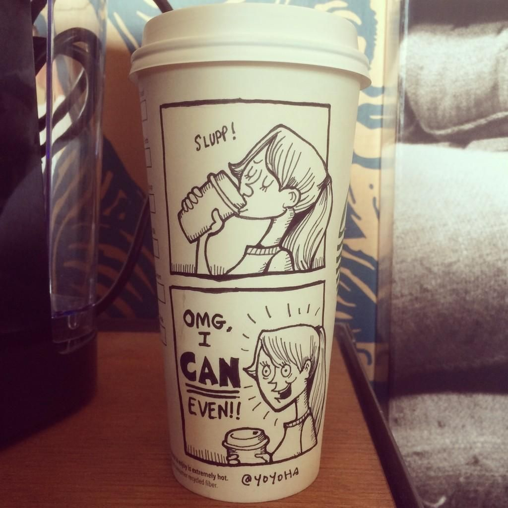Liquid Java Courage Starbucks cup drawing, Starbucks cup