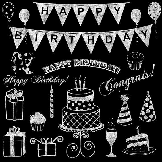 Kreideküste Clipart, Chalkboard Geburtstag ClipArt, weiße Kreide Geburtstag Hand gezeichnet Clipart Geburtstag Chalkboard Clipart für Einladungen