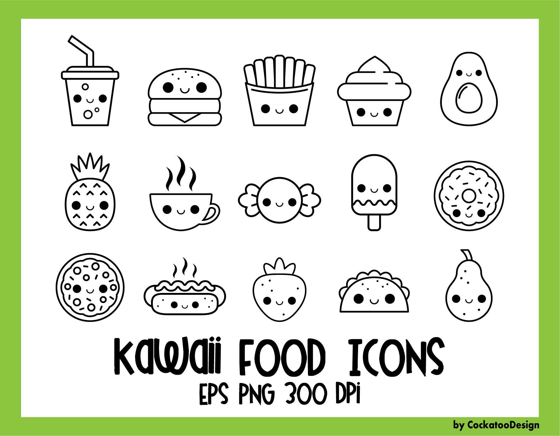 Food Icons Kawaii Digital Stamps Kawaii Food Icons Cute Food