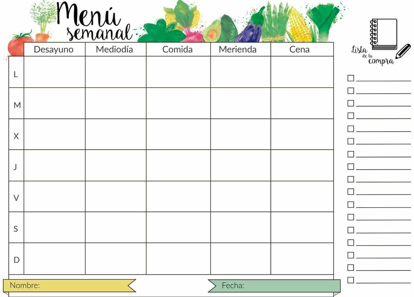 planificador de comidas de 7 días pdf