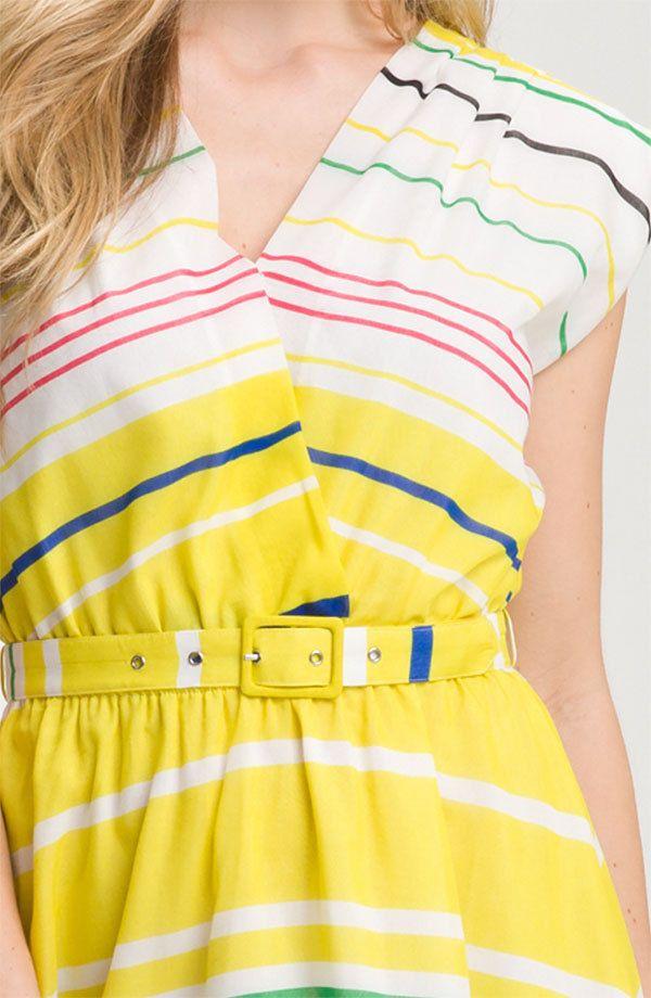 PRESLEY SKYE Sloane dress silk cotton cap sleeve belted striped white belted M #PresleySkye #Sundress #Casual