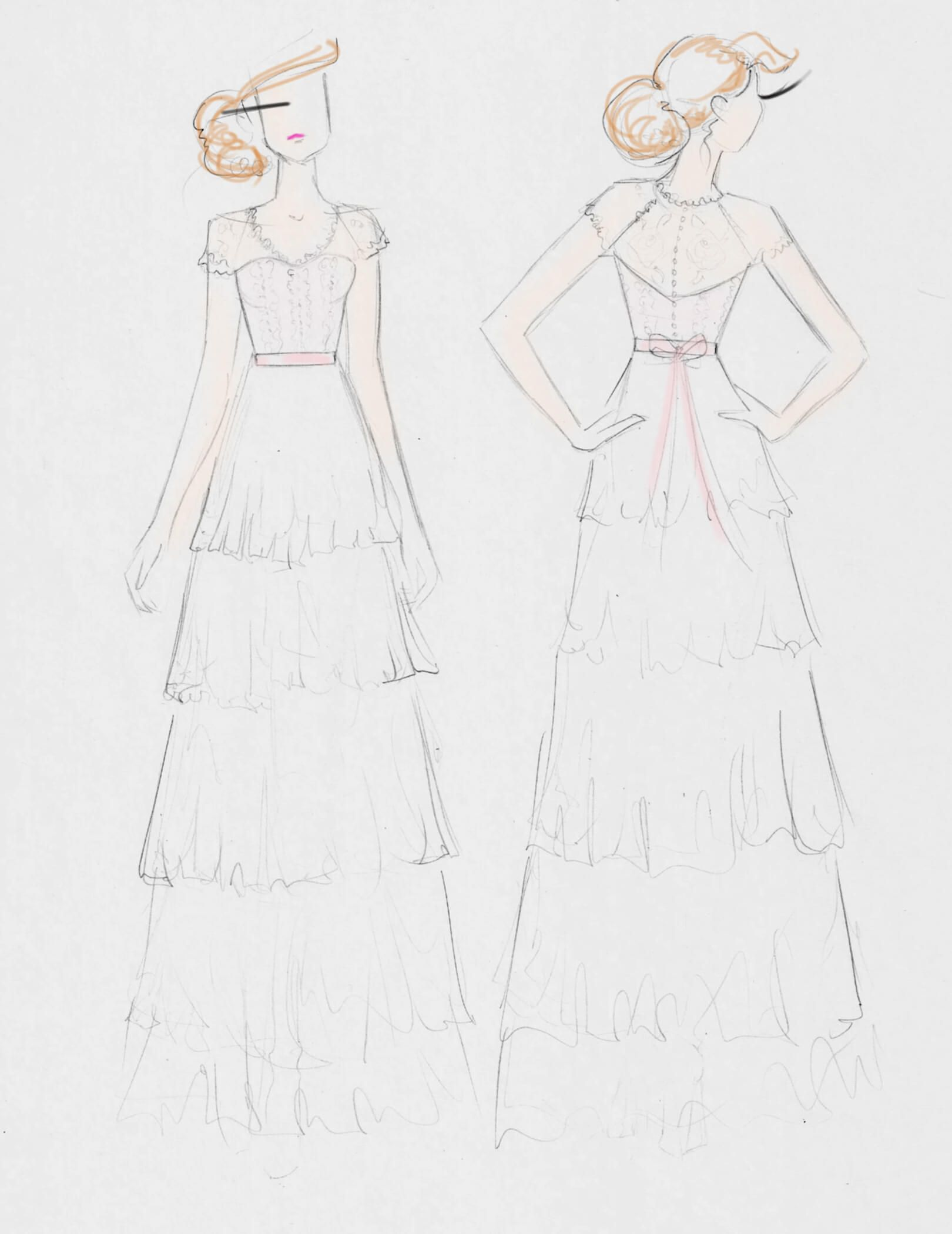 Sketch concept used for karlyus dress custom bridal gowns iuve