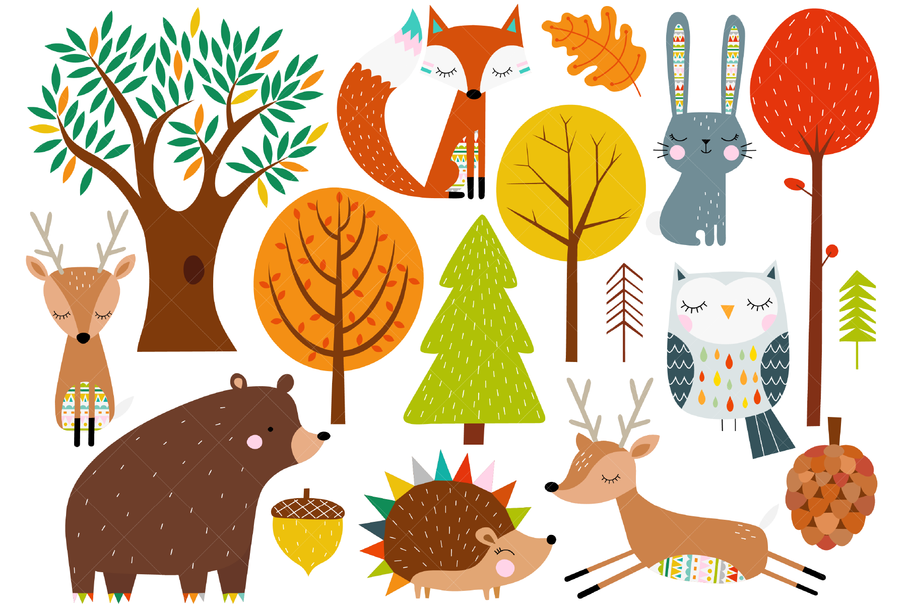 This Autumn Fall Woodland Set Features 17 Scandinavian Style Images Including A Fox Rabbit Bear Hedgehog Deer Owl Acorn Pinecone Leaf