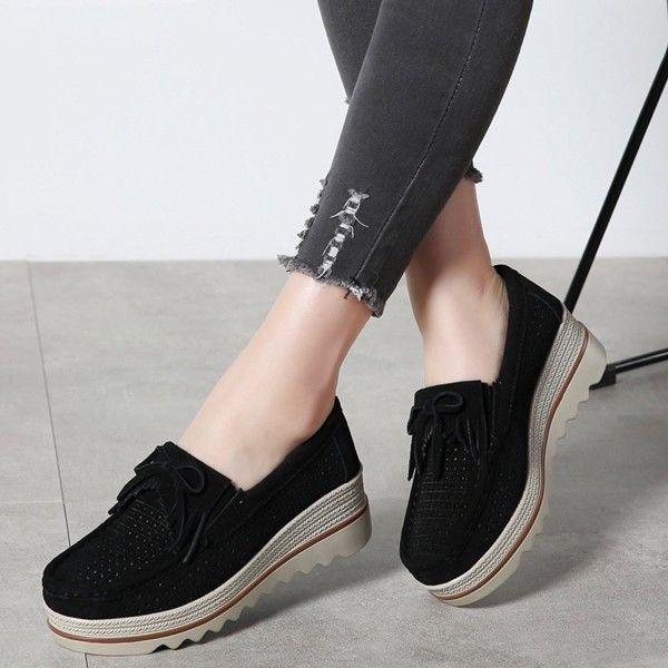 35754bbf417 Women Slip On Tassel Platform Loafers Suede Moccasin Comfortable ...