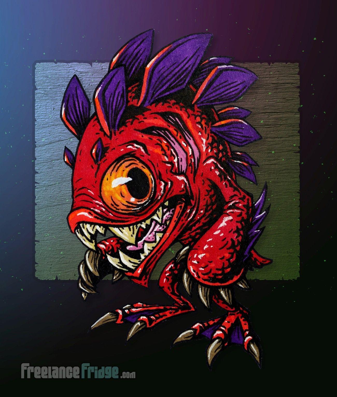 Murloc Fish Humanoid Monster Creature Design Concept Art Cartoon Pen ...