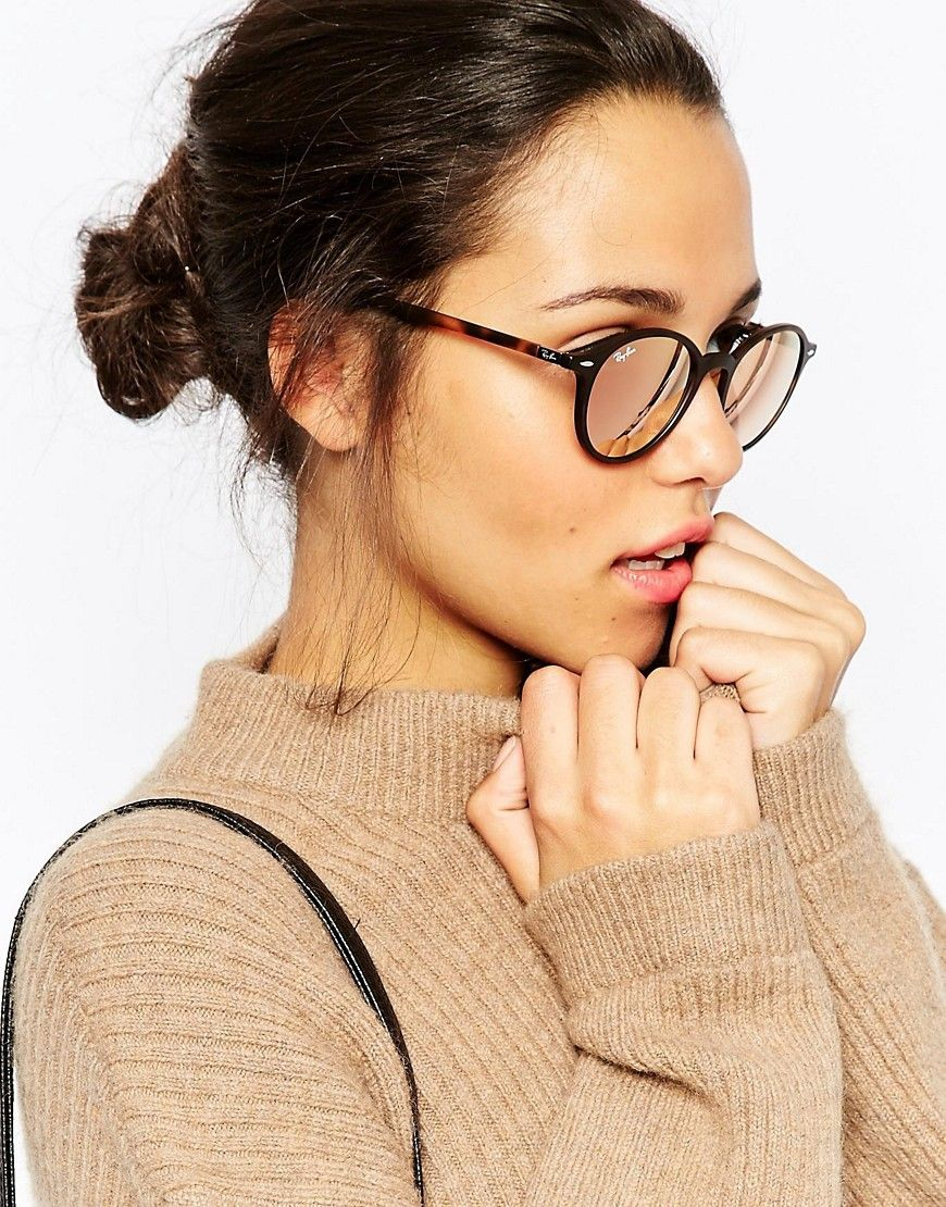 ray ban verspiegelte runde sonnenbrille glasses. Black Bedroom Furniture Sets. Home Design Ideas