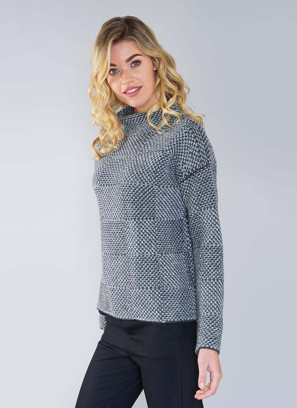 Fisherman Shadow Block High Neck Sweater Holiday outfits