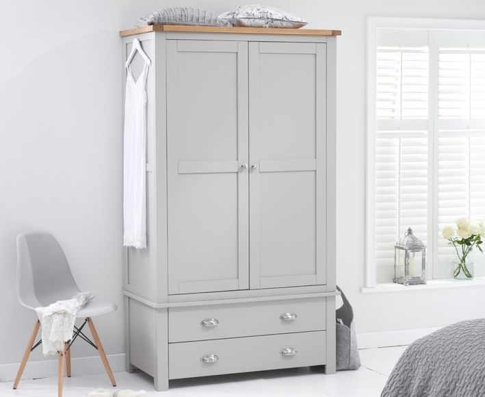 The Somerset Oak And Grey Two Door Drawer Wardrobe At Furniture Super