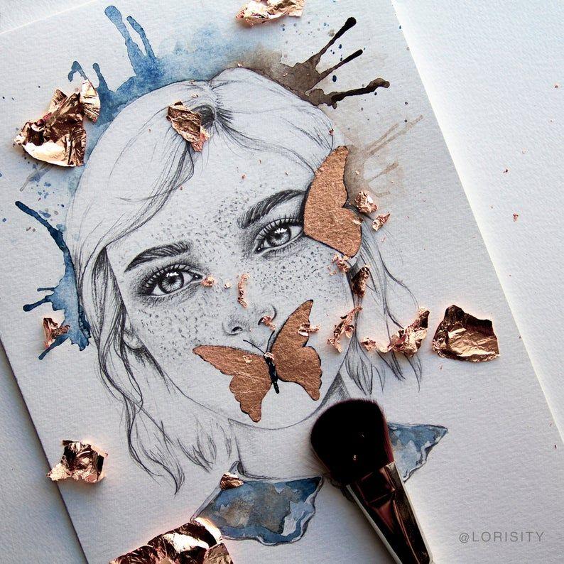 Magische Mädchen und Schmetterling Wand Kunstdruck mit Rose | Etsy