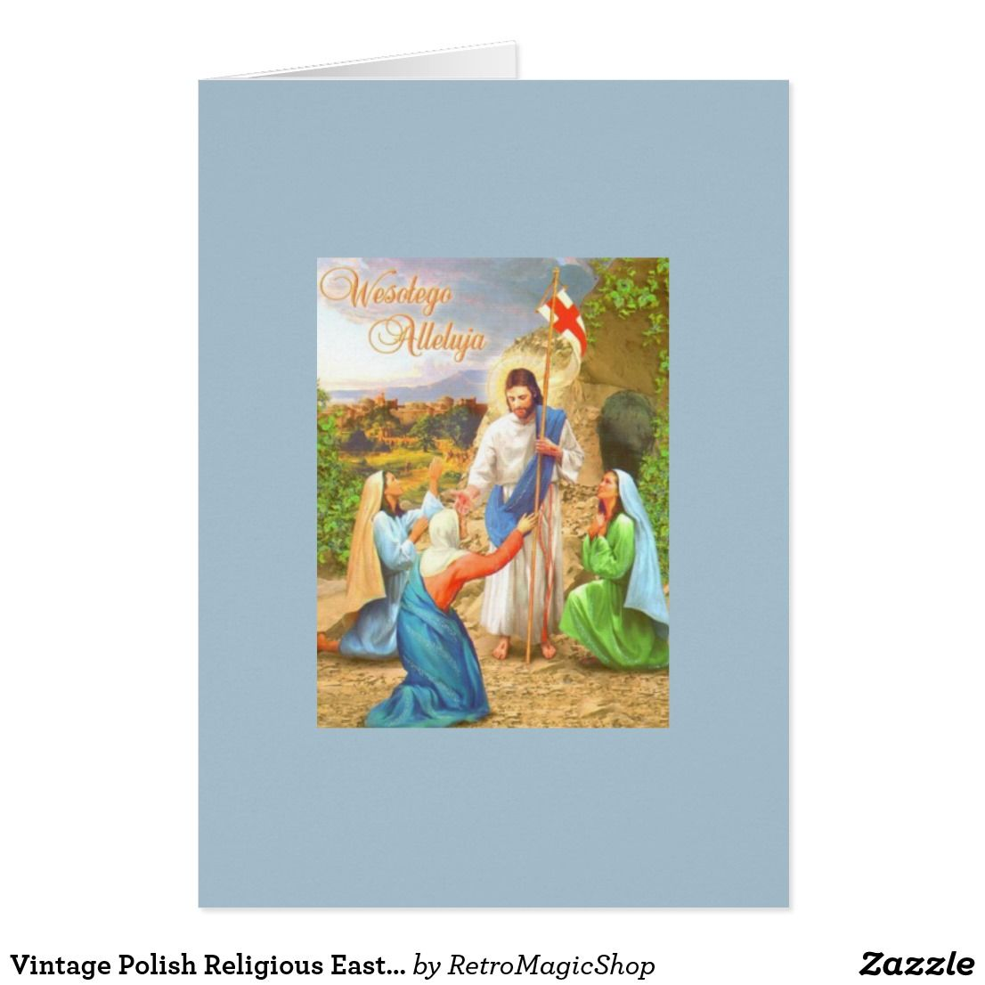 Vintage Polish Religious Easter Greeting Card Vintage