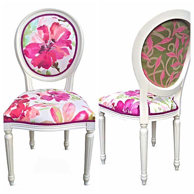 Vintage French Style Round Back Side Chair Colorful Bright Watercolor Floral Flower Upholstery Fab Dinning Room Chairs Upholstered Furniture Lacquer Furniture