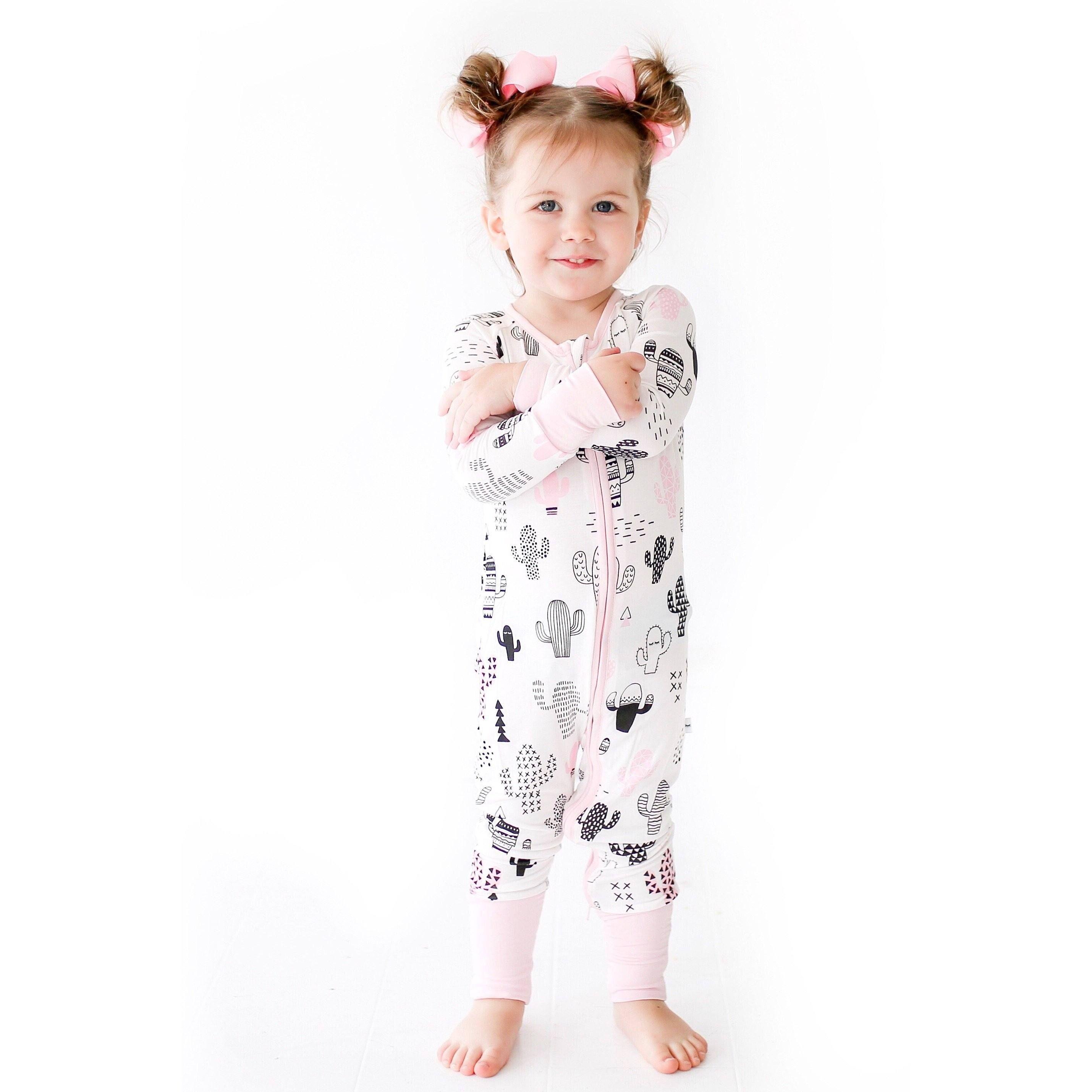 11f1f01934 Pink Cactus Baby  amp  Toddler Bamboo Zip Romper Sleeper - Little Sleepies  Pajamas