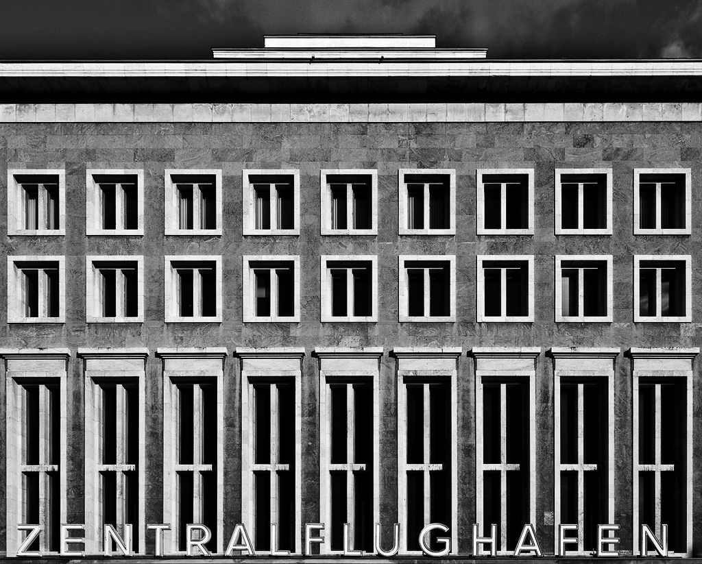 Upper Side Of The Main Facade Tempelhof Airport In Berlin By German Architect
