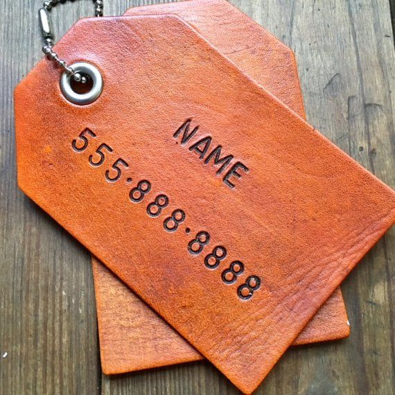 16d78fdbe9a9 Custom Personalized Leather Luggage Tag  1 single luggage tag