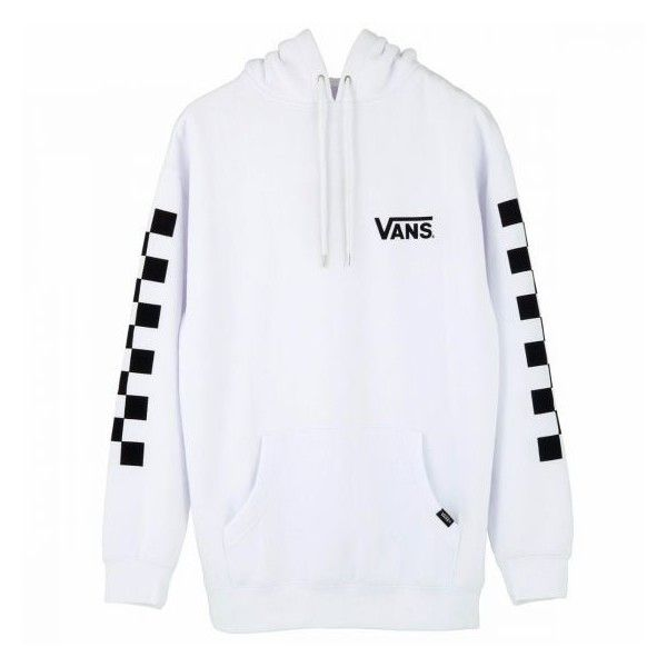 e3e37c486b VANS CHECKER OVER SIZE PULL OVER HOODIE WHITE (98 CAD) ❤ liked on Polyvore  featuring tops