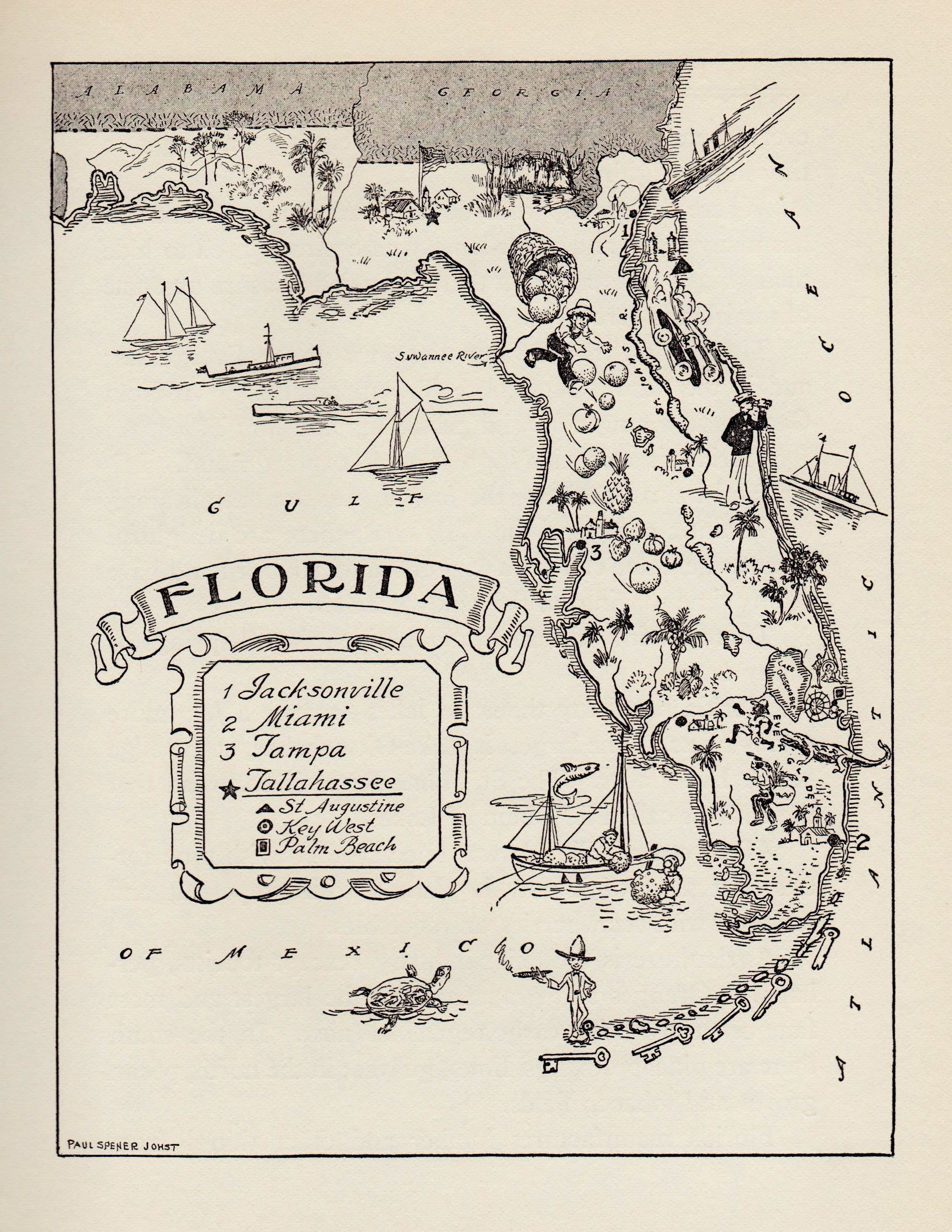 Black And White Map Of Florida 1950's Animated FLORIDA Picture Map Cartoon Map Black | Etsy | Map