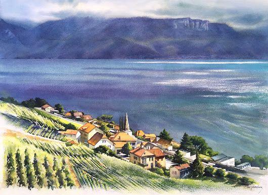 Lavaux Watercolor 76x56cm Www Beni Gassenbauer Com Aquarelle