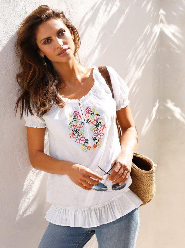 Blusa mujer manga corta con bordado - Venca - 100514  86562932eadd5