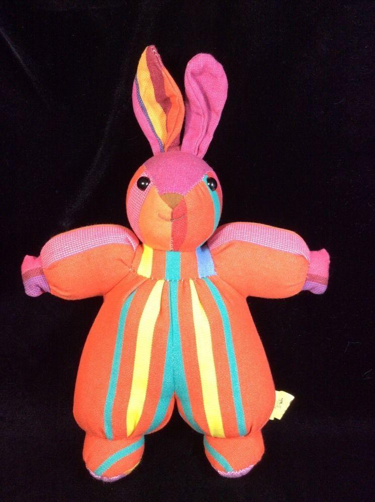 """Les Toiles Du Soleil France les toiles du soleil rabbit lapin fabric plush 14"""" france soft toy"""