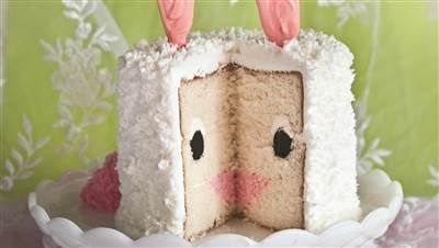 This adorable Easter bunny cake has a fun surprise inside - Bunny cake, Easter bunny cake, Bunny birthday cake, Easter bunny cake recipe, Cake, Easter dessert - Turn vanilla cake and buttercream frosting into a showstopping Easter dessert!