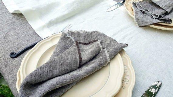 Linen Table Napkins with Fringe, Natural Flax Napkins Set, Custom Cloth Napkins for Wedding, Linen E #clothnapkins